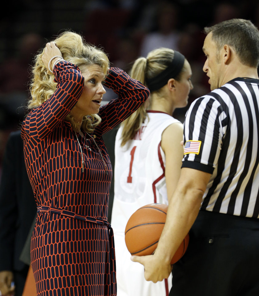 Photo - Oklahoma head coach Sherri Coale reacts to a foul call in the second half as the University of Oklahoma Sooners (OU) defeat the Gonzaga Bulldogs 82-78 in NCAA, women's college basketball at The Lloyd Noble Center on Thursday, Nov. 14, 2013  in Norman, Okla. Photo by Steve Sisney, The Oklahoman