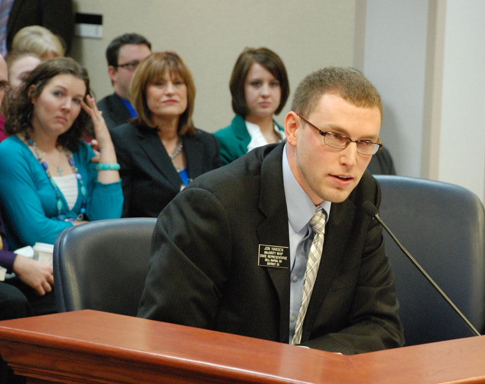 Rep. Jon Hansen, R-Dell Rapids, testifies to the South Dakota House Judiciary Committee on Friday, Feb. 15, 2013, in Pierre, S.D., on his bill providing that weekends and holidays would not count in calculating the state's three-waiting period for abortion. The committee passed the measure.