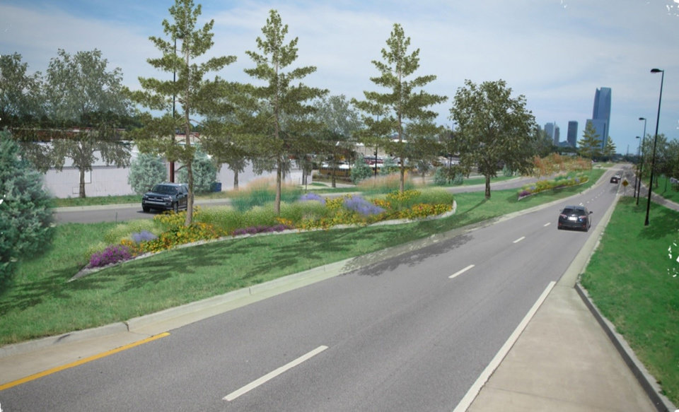 Photo -  A mix of trees, including evergreens, will be planted along the western Oklahoma City Boulevard gateway into downtown. The segment between Pennsylvania and Western avenues was once part of the old Interstate 40. [Rendering by CLS and Associates]