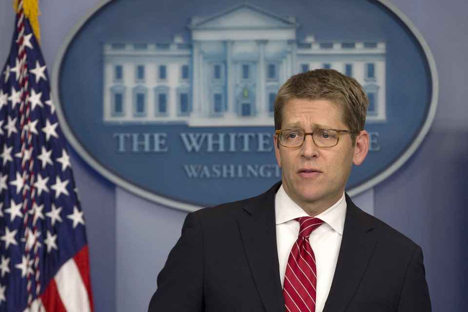 Photo - White House Press Secretary Jay Carney listens to a question during his daily news briefing at the White House in  Washington, Thursday, Nov. 29, 2012, as President Barack Obama was having a private lunch with former Republican presidential candidate Mitt Romney. (AP Photo/Jacquelyn Martin)