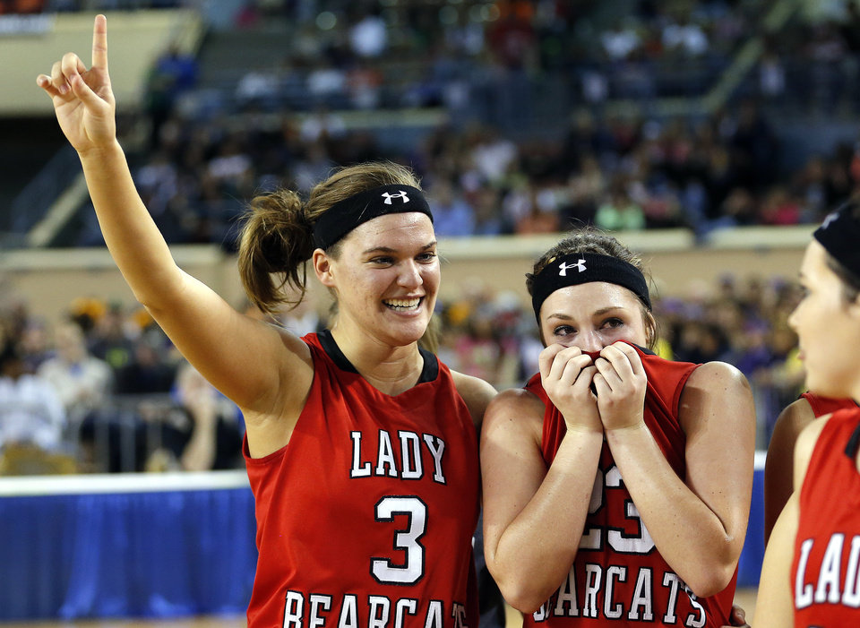 Erick's Emily Carpenter, left, and Shyli May celebrate the Class B girls state championship over Lomega at the State Fair Arena.,  Saturday, March 2, 2013. Photo by Sarah Phipps, The Oklahoman