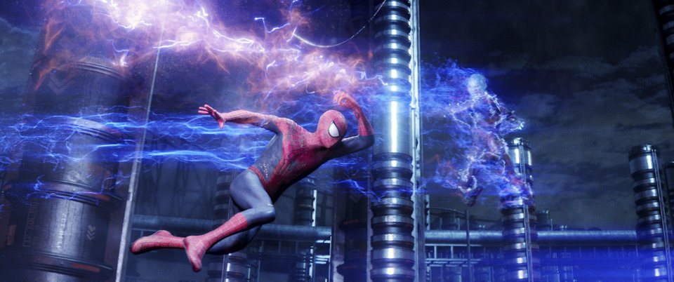 "Photo -   Andrew Garfield, left, stars as Spider-Man, and Jamie Foxx as Electro in Columbia Pictures' ""The Amazing Spider-Man 2."" AP Photo/Sony Pictures   Uncredited -  AP"