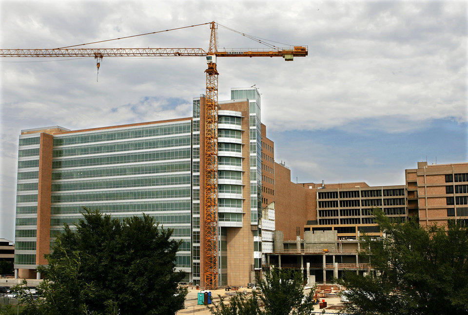 Several multistory  buildings are being erected  in the area known as the University of Oklahoma  Health Sciences complex Thursday, Aug. 6, 2009.  Photo by Jim Beckel, The Oklahoman