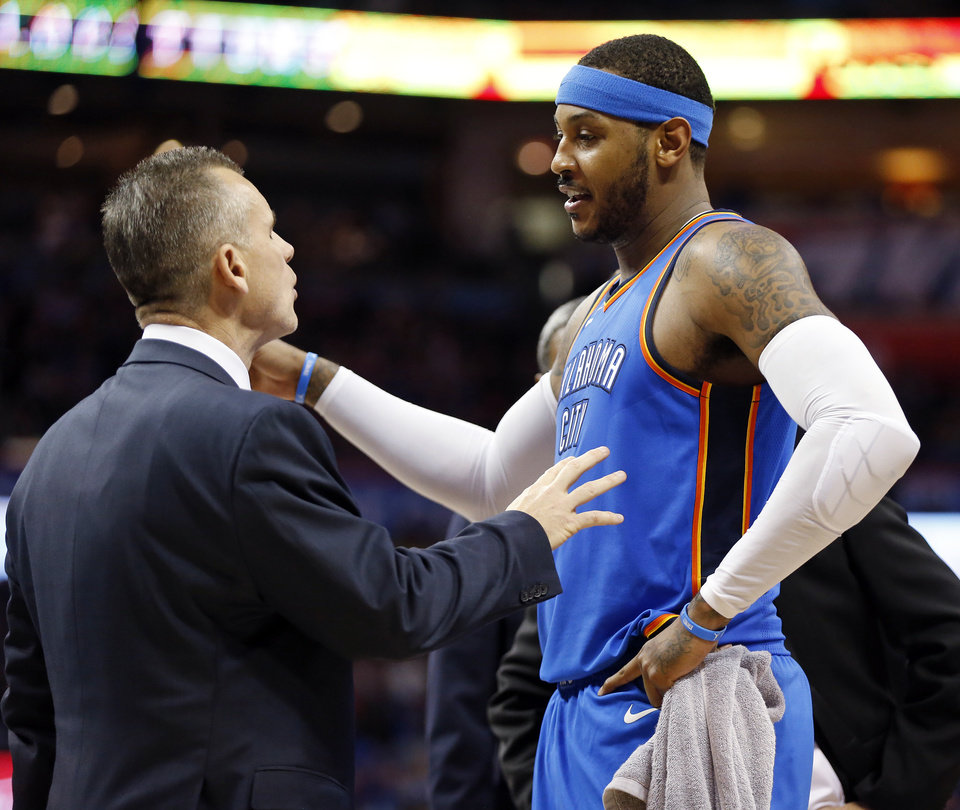 Oklahoma City's Carmelo Anthony (7) and coach Billy Donovan talk during an NBA basketball game between the Oklahoma City Thunder and the Golden State Warriors at Chesapeake Energy Arena, Wednesday, Nov. 22, 2017. The Thunder won 108-91. Photo by Nate Billings, The Oklahoman