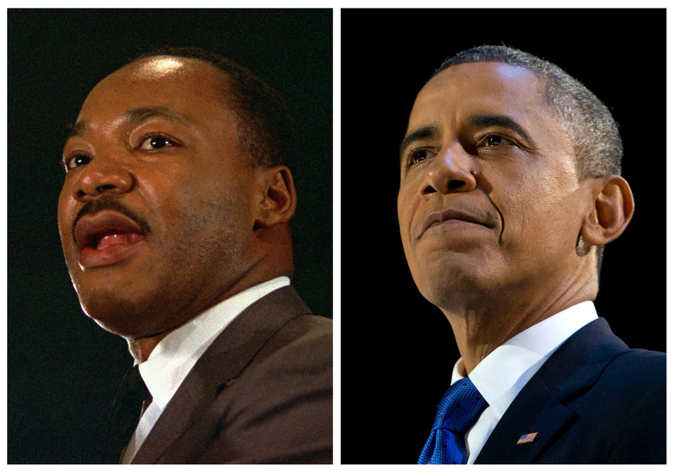 Photo - FILE - In this combination of file photos, the Rev. Martin Luther King Jr. speaks at a peace rally in New York on April 15, 1967, left, and President Barack Obama speaks at an election night party in Chicago after winning a second term in office on Nov. 7, 2012. Inauguration Day coincides with the King holiday, marking what some say is an inextricable tie between the nation's first black president and the civil rights movement. Obama plans to incorporate the legacy of that movement into his inauguration. (AP Photo, File)