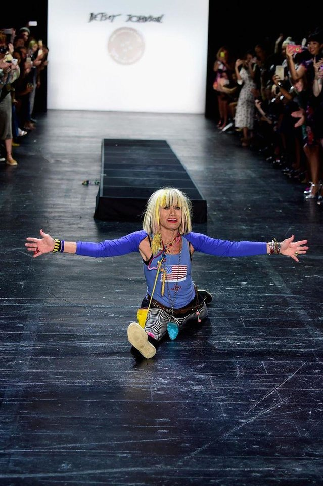 Photo - Betsey Johnson's signature cartwheel that ended her runway shows.