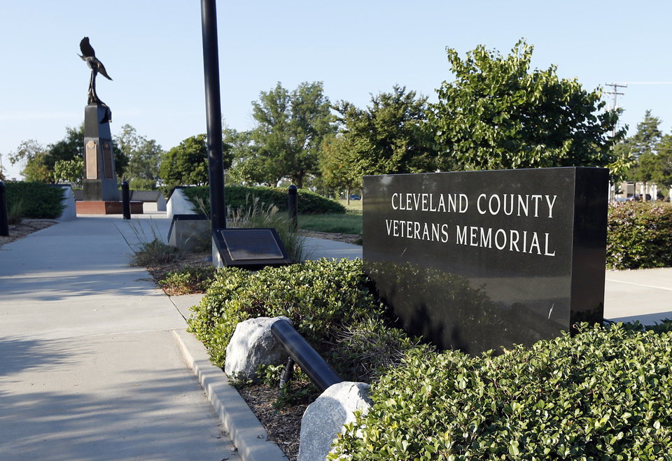 Photo - BOTTOM, LEFT:  The Cleveland County Veterans Memorial is at Reaves Park, which supporters of Norman Forward say could be swapped to the University of Oklahoma in exchange for land on North Base to build a Sports and Wellness Center.  STEVE SISNEY -