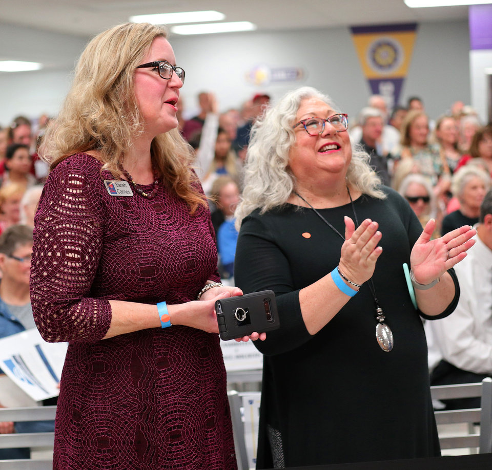 Photo - Candidates Sarah Carnes and Cyndi Ralston react during an AFT education rally at Northwest Classen High School, Saturday, September, 22, 2018.  Photo by Doug Hoke, The Oklahoman