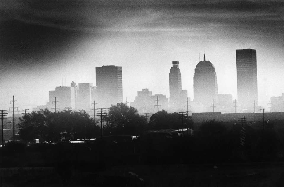 OKLAHOMA CITY / SKY LINE / OKLAHOMA:  Blowing dust hanging over the Oklahoma City area Tuesday caused pollution monitored by the Oklahoma City-County Health Department to reach the unhealthy level for the first time since sampling began.  Air quality remained moderate Wednesday.  Photo undated and published on 10/04/1979 in The Daily Oklahoman (STAR).