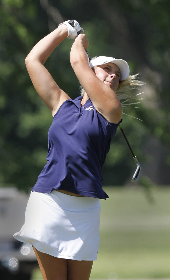 Photo - Shawnee golfer Kurstyn Mills hits a fairway ball   on the front nine during Girl's Class 5A State Golf Tournament at Lincoln Park Golf Course on Wednesday, May 2,  2012.    Photo by Jim Beckel, The Oklahoman