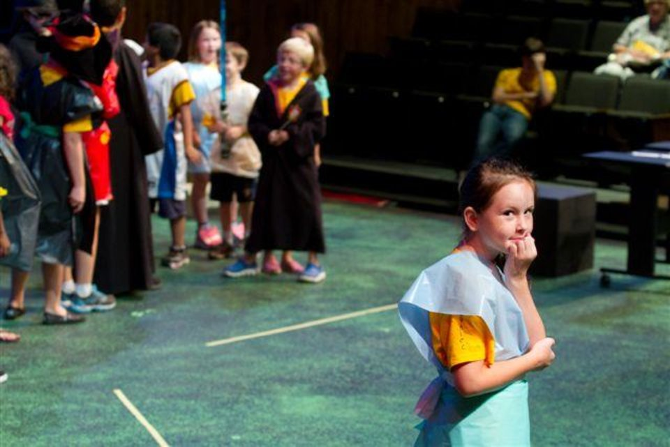 "Annie Maupin performs as the group leader in the Oklahoma Children's Theater summer camp production of ""Villains Anonymous."" Photo by Steve Maupin."