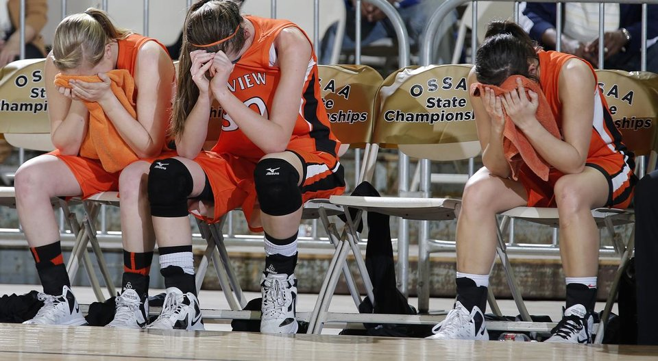 Photo - The Fairview bench reacts in the final second of the loss to Northeast during the state high school basketball tournament Class 2A girls semifinal game between Fairview High School and Northeast High School at the State Fair Arena on Friday, March 8, 2013, in Oklahoma City, Okla. Photo by Chris Landsberger, The Oklahoman
