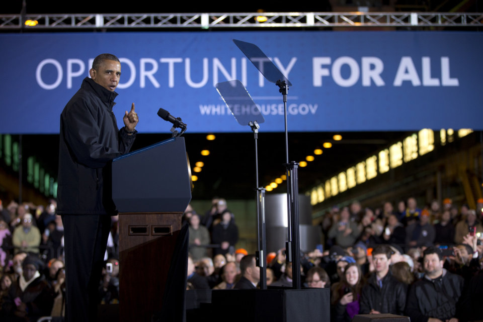 Photo - President Barack Obama speaks at the U.S. Steel Irvin Plant, Wednesday, Jan. 29, 2014, in West Mifflin, Pa., about retirement policies he highlighted in the State of the Union address. (AP Photo/Carolyn Kaster)