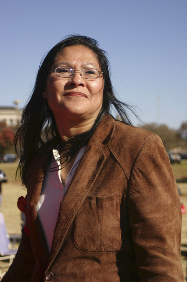 Photo - Brenda Golden, from Clearview, one of the organizers at the Oklahoma Indians Survival Walk and Remembrance Ceremony at the Capitol Friday, Nov. 16, 2007. By Michael McNutt, The Oklahoman.