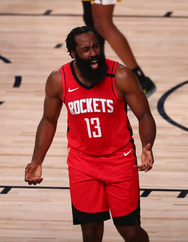 Photo - Aug 31, 2020; Lake Buena Vista, Florida, USA; Houston Rockets guard James Harden (13) reacts against the Oklahoma City Thunder during the first quarter in game six of the first round of the 2020 NBA Playoffs at ESPN Wide World of Sports Complex. Mandatory Credit: Kim Klement-USA TODAY Sports