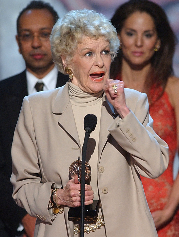 Photo - FILE - This June 2, 2002 file photo shows actress Elaine Stritch after receiving the special theatrical event prize for her one-woman show,