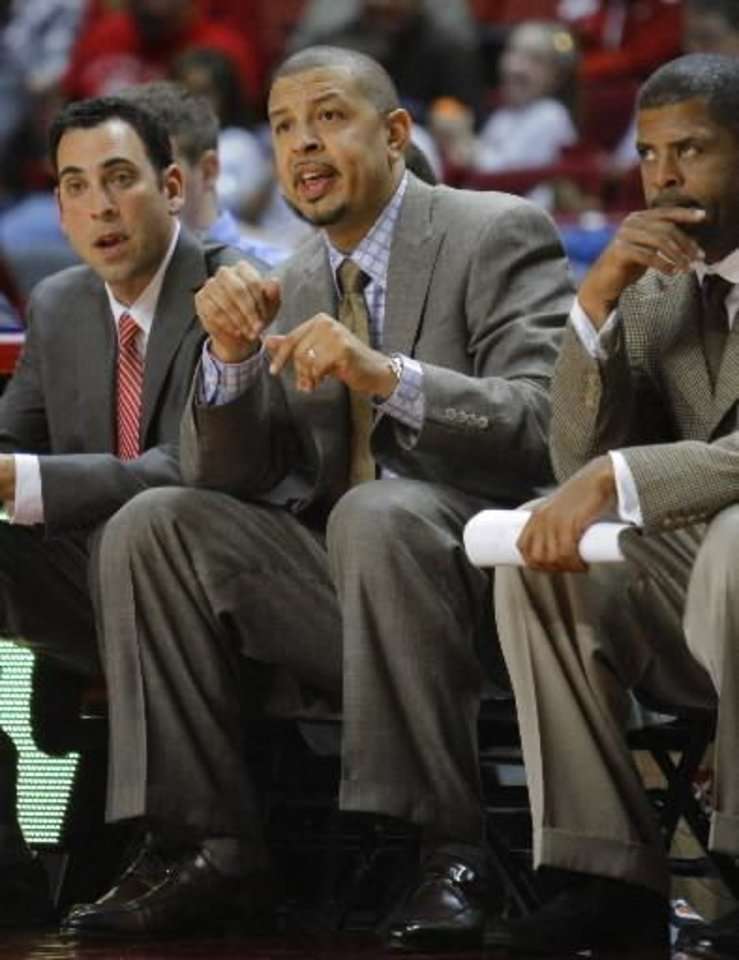 Photo - Head coach Jeff Capel reacts in the second half as the University of Oklahoma (OU) Sooner men's basketball team plays the Coppin State Eagles on Friday, November 12, 2010, at the Lloyd Noble Center in Norman, Okla. Photo by Steve Sisney, The Oklahoman