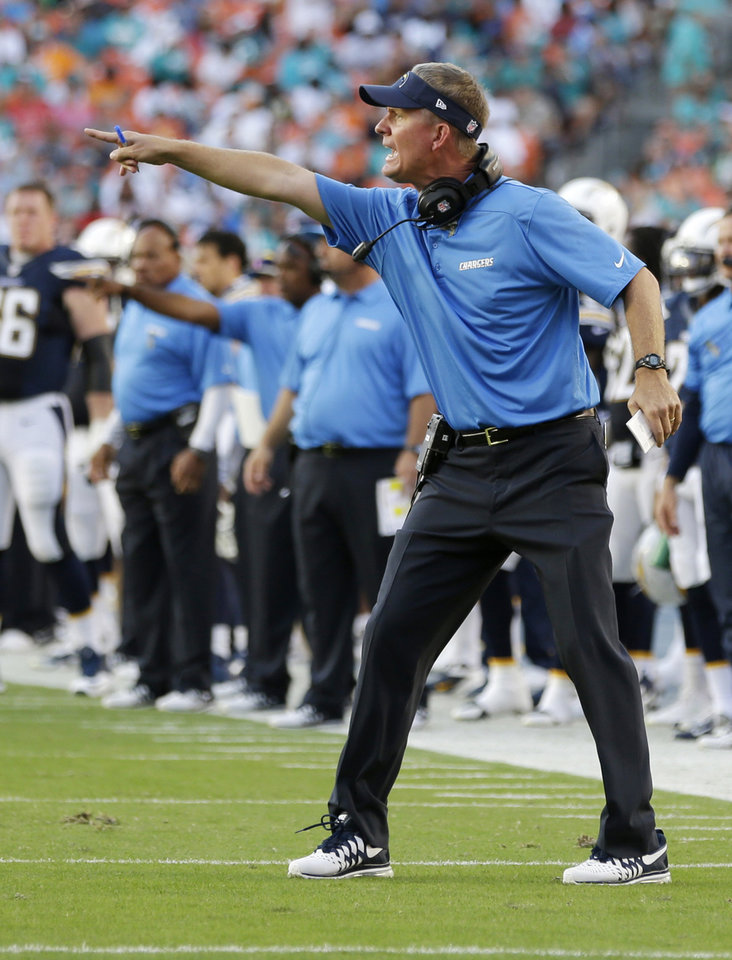 San Diego Chargers head coach Mike McCoy gestures during the first half of an NFL football game against the Miami Dolphins, Sunday, Nov. 17, 2013, in Miami Gardens, Fla. (AP Photo/Lynne Sladky)