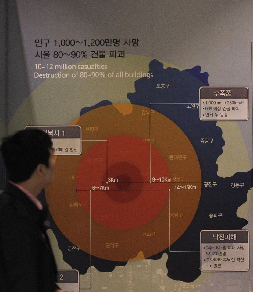 Photo - A man looks at the display showing possible damage if a 1 megaton class nuclear weapon is detonated in Seoul, at the Korea War Memorial Museum in Seoul, South Korea, Tuesday, April 2, 2013. North Korea vowed Tuesday to restart all mothballed facilities at its main Yongbyon nuclear complex, adding to tensions already raised by near daily warlike threats against the United States and South Korea.(AP Photo/Ahn Young-joon)