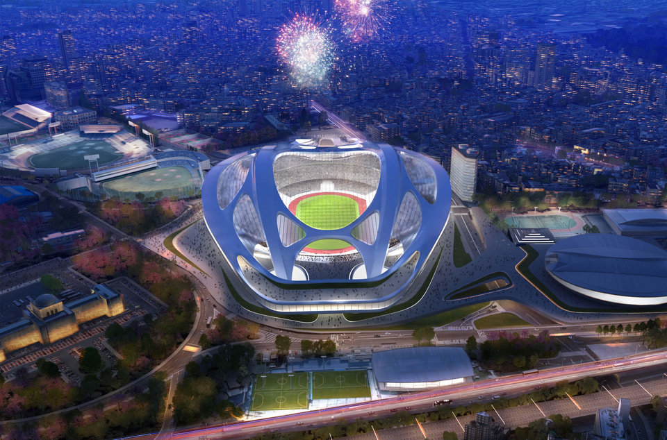 Photo - FILE - This artist rendering file released by Japan Sport Council shows the new National Stadium, the main venue Tokyo plans to build for the 2020 Summer Olympics. The Olympics building spree could be a welcome boon for the economy. But there are doubts over the costs and scale of some of the proposed projects, especially an 80,000-seat stadium designed by British-Iraqi architect Zaha Hadid that was the centerpiece of Tokyo's 2020 bid. (AP Photo/Japan Sport Council, File)