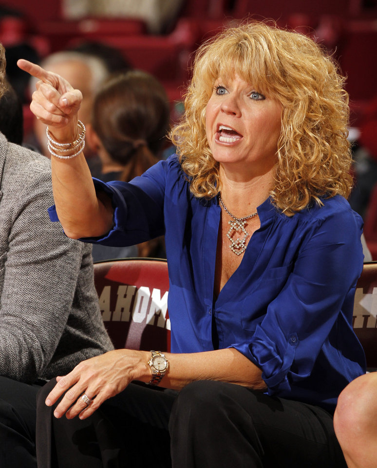 Oklahoma head coach Sherri Coale gestures during the second half as the University of Oklahoma Sooners (OU) play the Riverside Highlanders in NCAA, women's college basketball at The Lloyd Noble Center on Thursday, Dec. 20, 2012  in Norman, Okla. Photo by Steve Sisney, The Oklahoman