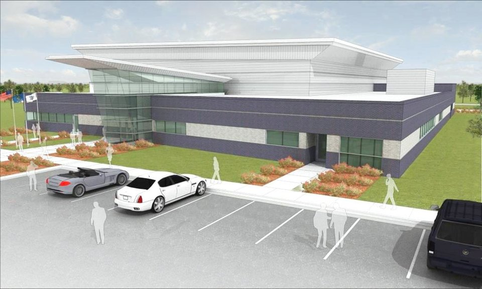 An artist's rendering of the Oklahoma City Thunder's practice facility that will be built near the intersection of Britton Road and Broadway Extension. The facility will cost millions less than was originally projected. PHOTO PROVIDED