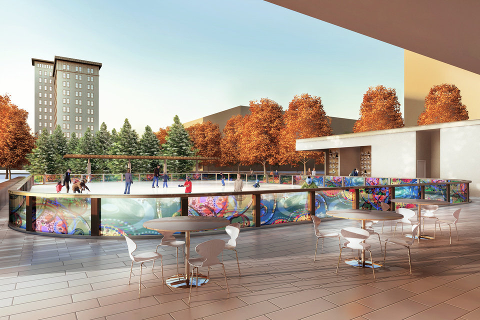 Photo - A view of the planned water plaza outside that will be converted into an ice rink every winter. Provided by Oklahoma City Parks Department