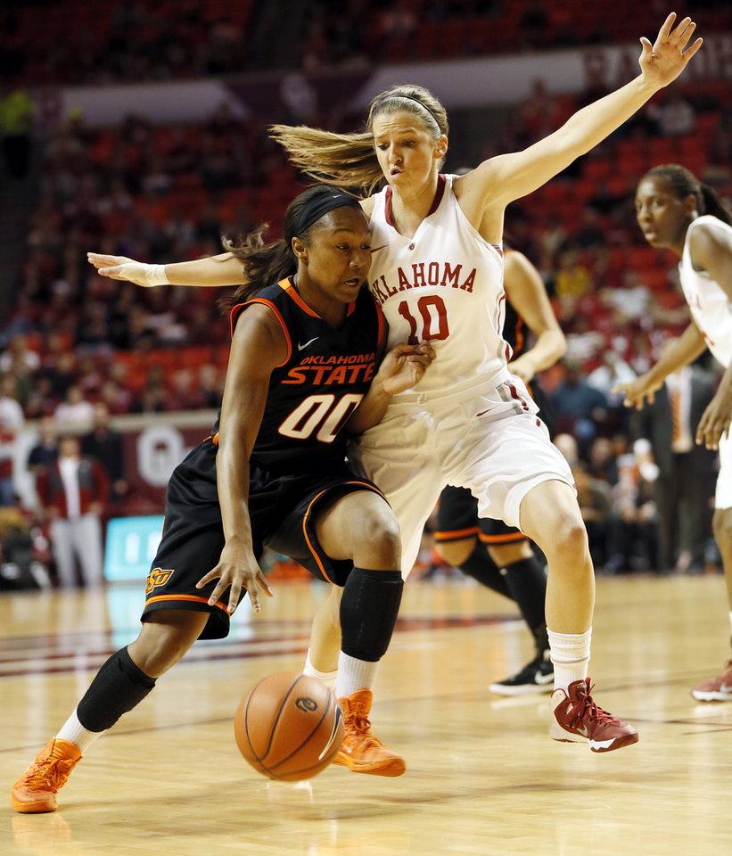 Photo - Oklahoma State's Roshunda Johnson (00) drives the ball against Oklahoma's Morgan Hook (10) in the first half during a women's Bedlam college basketball game between the Oklahoma State University Cowgirls (OSU) and the University of Oklahoma Sooners (OU) at Lloyd Noble Center in Norman, Okla., Saturday, Feb. 1, 2014. Photo by Nate Billings, The Oklahoman