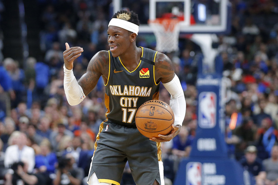 Photo - Oklahoma City's Dennis Schroder (17) gestures during an NBA basketball game between the Oklahoma City Thunder and Houston Rockets at Chesapeake Energy Arena in Oklahoma City, Thursday, Jan. 9, 2020. [Bryan Terry/The Oklahoman]