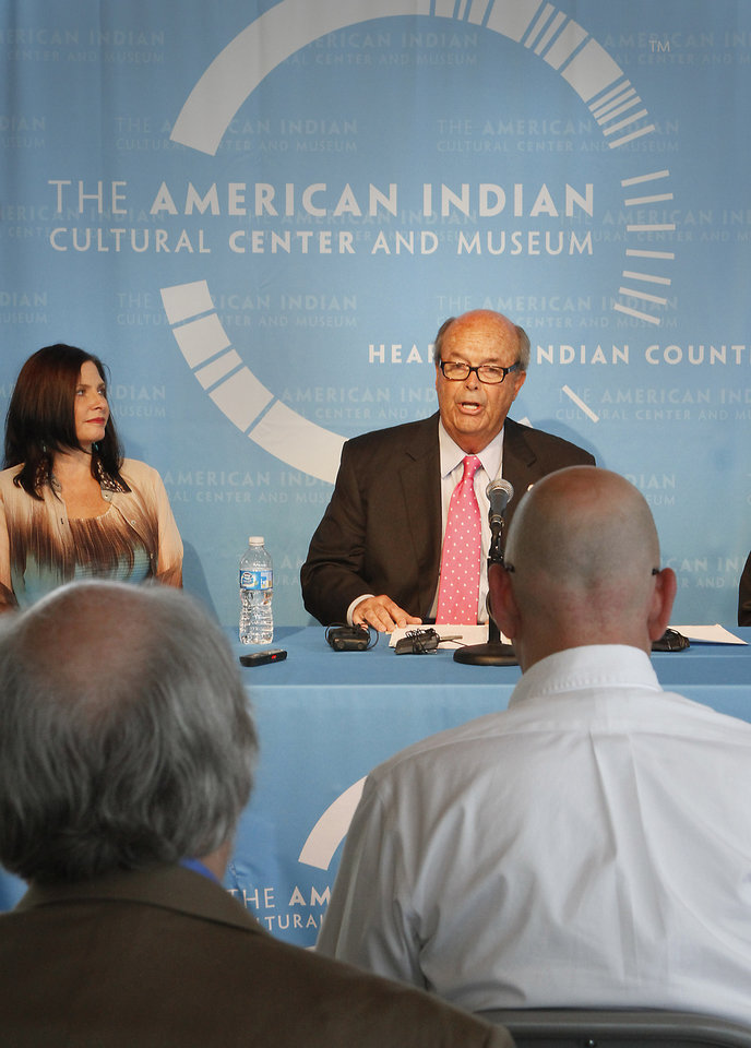 Shoshana Wasserman  and Blake Wade speak at a press conference announcing plans for the future of the half-constructed American Indian Cultural Center and Museum in Oklahoma City, Thursday, June 28, 2012. Photo By David McDaniel/The Oklahoman