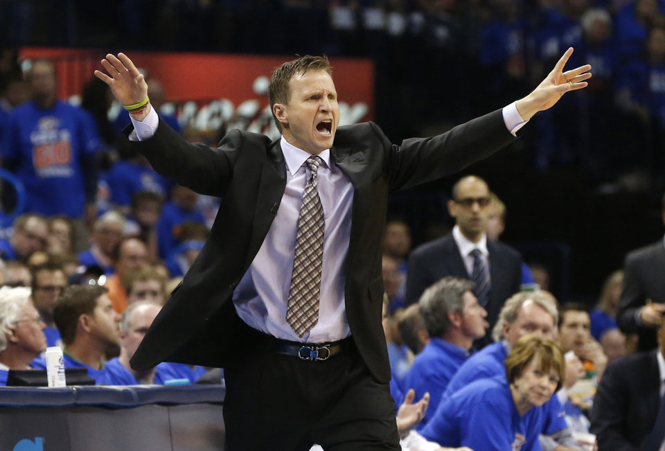 Oklahoma City Thunder coach Scott Brooks reacts to a call in the second quarter of Game 5 of a first-round NBA basketball playoff series against the Houston Rockets in Oklahoma City, Wednesday, May 1, 2013. (AP Photo/Sue Ogrocki)