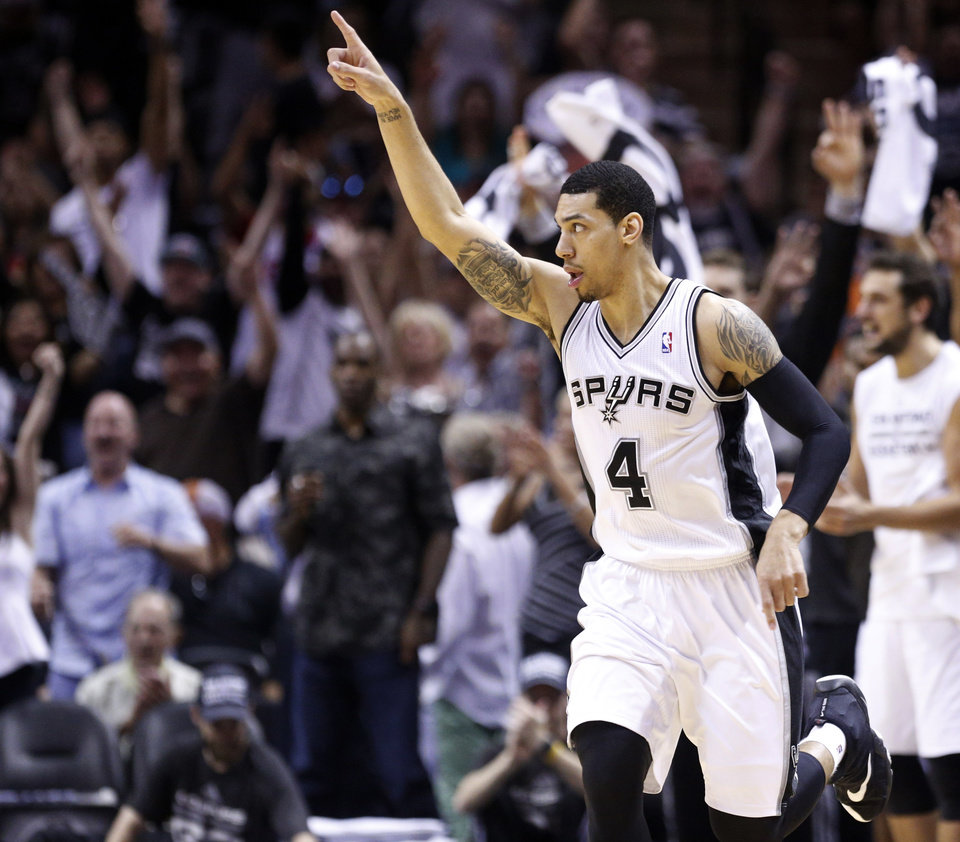 Photo - San Antonio's Danny Green (4) reacts after a play during Game 5 of the Western Conference Finals in the NBA playoffs between the Oklahoma City Thunder and the San Antonio Spurs at the AT&T Center in San Antonio, Thursday, May 29, 2014. Photo by Sarah Phipps, The Oklahoman