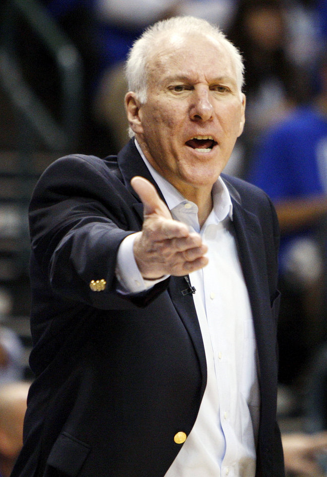 Photo - San Antonio head coach Gregg Popovich reacts to a call during Game 3 of the Western Conference Finals between the Oklahoma City Thunder and the San Antonio Spurs in the NBA playoffs at the Chesapeake Energy Arena in Oklahoma City, Thursday, May 31, 2012. Oklahoma City won, 102-82. Photo by Nate Billings, The Oklahoman
