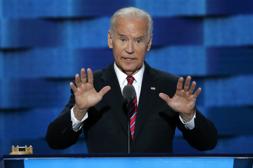 Photo - Vice President Joe Biden speaks during the third day of the Democratic National Convention in Philadelphia , Wednesday, July 27, 2016. (AP Photo/J. Scott Applewhite)