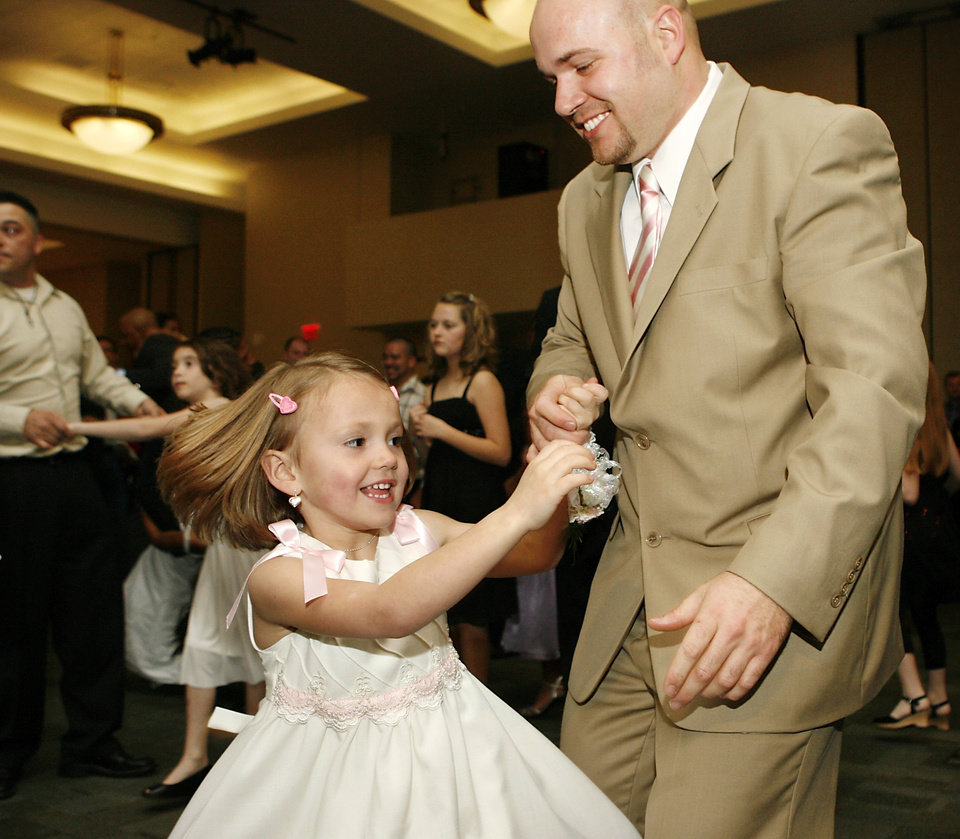 Photo - James Farris of Midwest City spins his giggling daughter, Zariah, 5, on the dance floor at the Daddy-Daughter Dance at the Reed Center in Midwest City Saturday night, Feb. 7, 2009. The annual event is hosted by the Midwest City Parks and Recreation Department.   BY JIM BECKEL, THE OKLAHOMAN