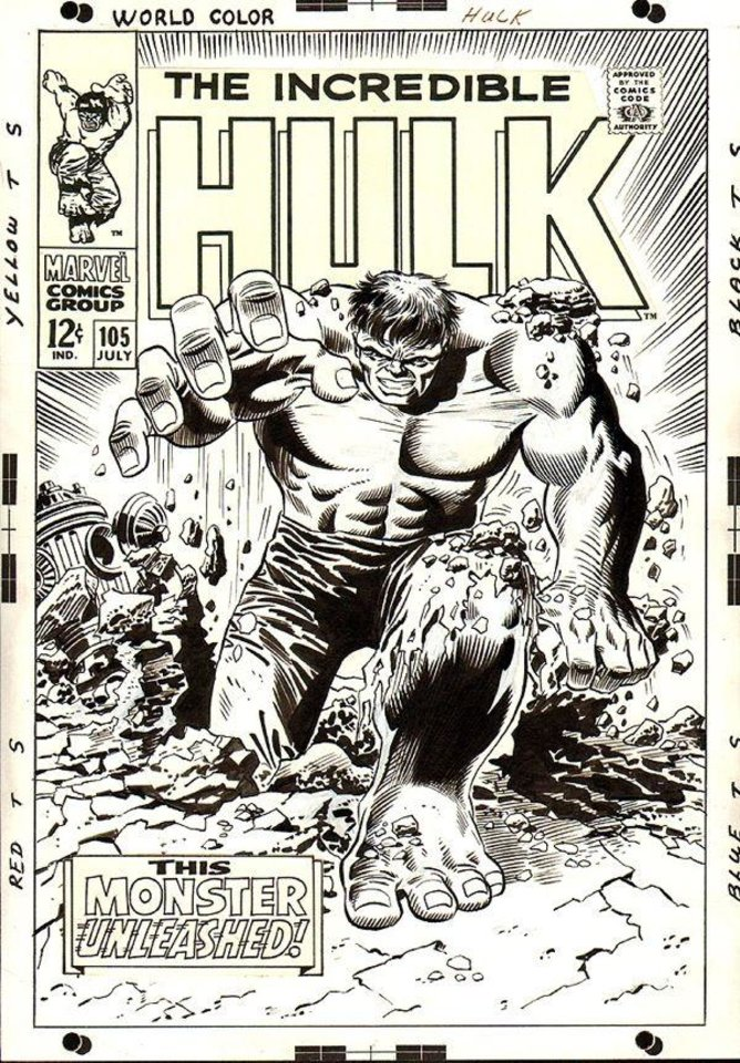 Photo - Marie Severin and Frank Giacoia The Incredible Hulk #105 Cover Original Art (Marvel, 1968). [Heritage Auctions]