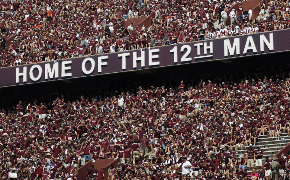 OKLAHOMA STATE UNIVERSITY / HOME OF THE 12TH MAN SIGN / CROWD / FANS: A view of the stadium before a college football game between the Oklahoma State Cowboys (OSU) and the Texas A&M Aggies at Kyle Field in College Station, Texas, Saturday, Sept. 24, 2011. Photo by Nate Billings, The Oklahoman ORG XMIT: KOD