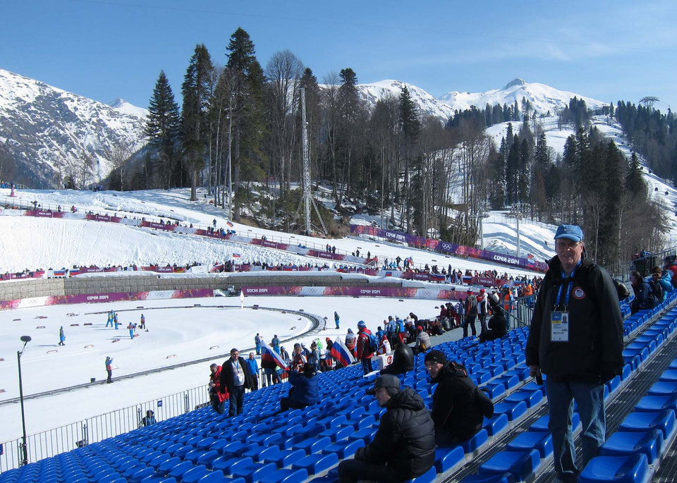 Photo -  Bill Hancock at the cross country skiing venue in Sochi in 2014. PHOTO PROVIDED