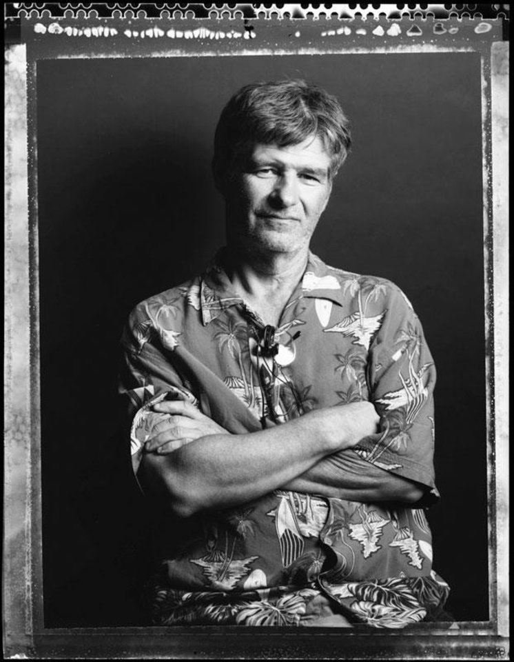 Photographer, assistant and overall technical wizard Jerry Laizure poses for a photo at the University of Oklahoma in Norman, Okla., Friday, August 17, 2007. This photo was made with a Sinar Norma 4x5 view camera on Polaroid Type 55 film. By Nate Billings, The Oklahoman