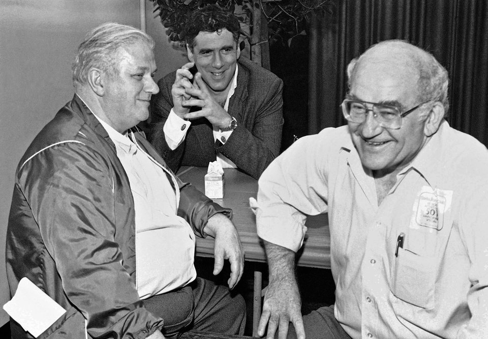 FILE - In this Saturday, March 3, 1984 file photo, from left, actors Charles Durning, Eliott Gould and Screen Actors Guild President Ed Asner take a break before the filming of the 50th Anniversary Special celebrating the guild in Santa Monica, Calif. Durning, the two-time Oscar nominee who was dubbed the king of the character actors for his skill in playing everything from a Nazi colonel to the pope, died Monday, Dec. 24, 2012 at his home in New York City. He was 89. (AP Photo/Heung Shing Liu)