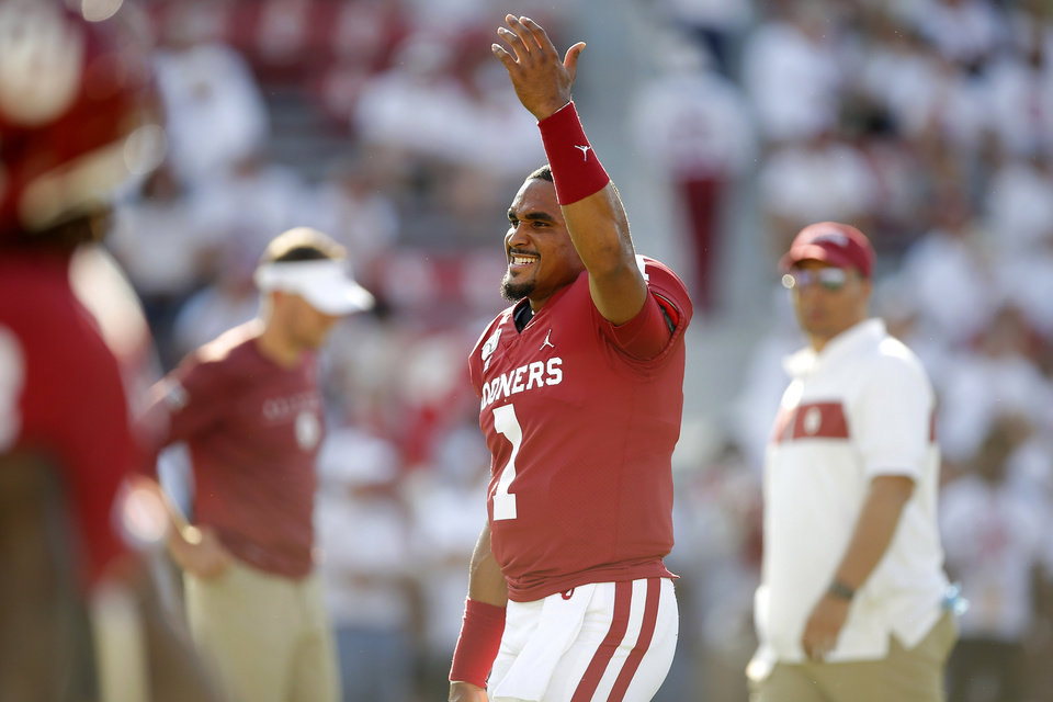 Photo - Oklahoma's Jalen Hurts (1) gestures to the crowd before a college football game between the University of Oklahoma Sooners (OU) and the Houston Cougars at Gaylord Family-Oklahoma Memorial Stadium in Norman, Okla., Sunday, Sept. 1, 2019. [Bryan Terry/The Oklahoman]