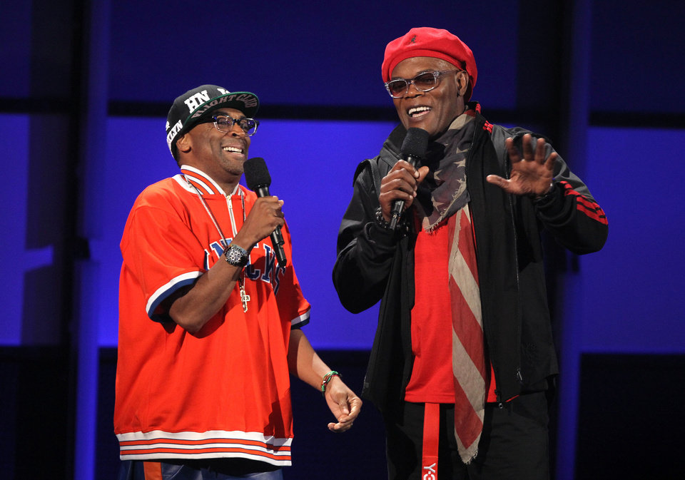 Photo -   Host Samuel L. Jackson, right, and Spike Lee appear on stage at the BET Awards on Sunday, July 1, 2012, in Los Angeles. (Photo by Matt Sayles/Invision/AP)