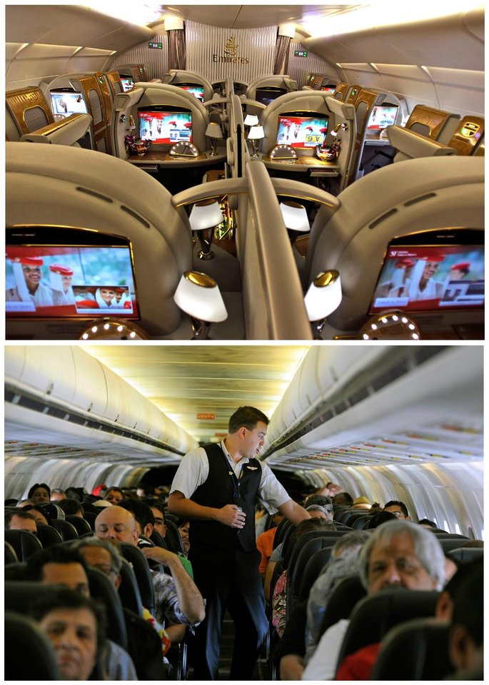 Photo - This combination of Associated Press file photos show, on top, the first class section of an Emirates airlines Airbus A380 at the new Concourse A of Dubai airport in Dubai, United Arab Emirates in 2013, and on the bottom, Allegiant Air flight attendant Chris Killian preparing his passengers for the Laredo, Tex, bound flight before it pushes back from the terminal at McCarran International Airport in Las Vegas, in 2013. When Emirates Airline opened a new concourse at its home airport in Dubai last year, it made sure to keep coach passengers separate from those in business and first class. The top floor of the building is a lounge for premium passengers with direct boarding to the upstairs of Emirates' fleet of double-decker Airbus A380s. Those in coach wait one story below and board to the lower level or the plane.  (AP Photo/File)