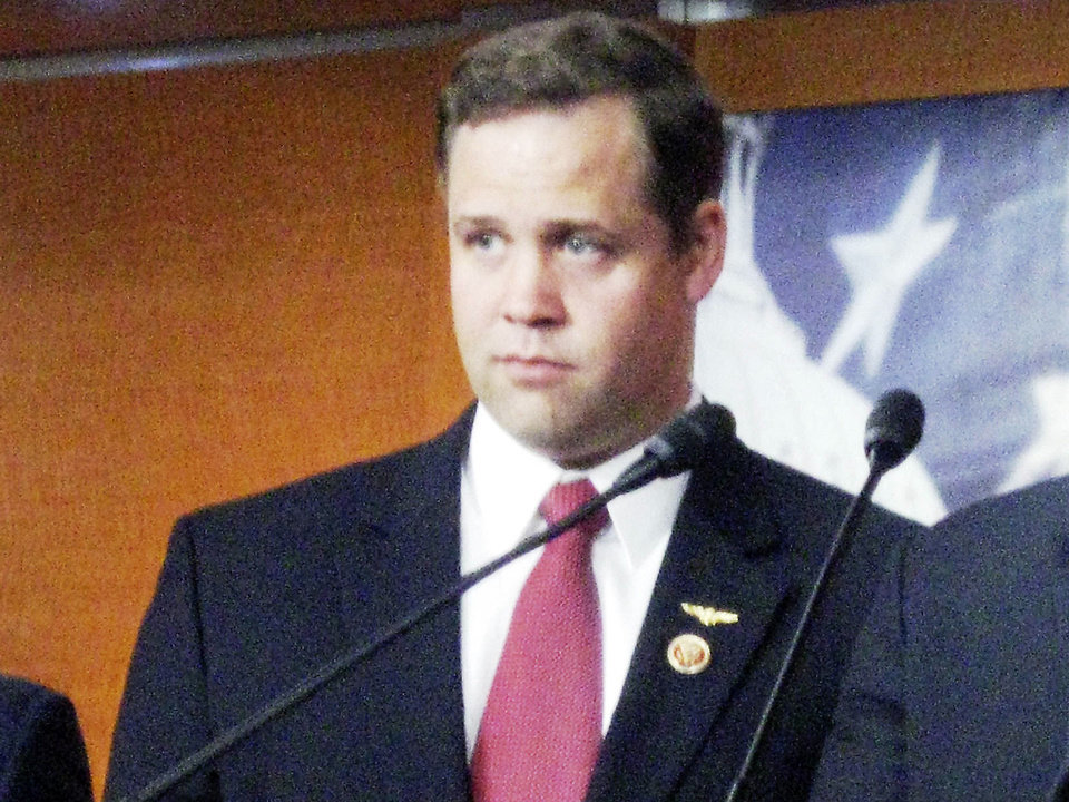 Rep. Jim Bridenstine, R-Tulsa, attends a Capitol Hill press conference on Thursday about an effort to defund Obamacare in a must-pass budget bill. <strong>aa - The Oklahoman</strong>
