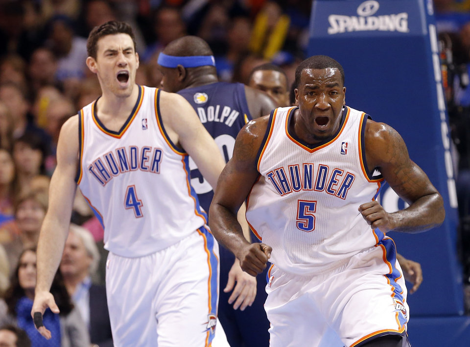 Oklahoma City's Kendrick Perkins (5) and Oklahoma City's Nick Collison (4) react to a called foul during the NBA basketball game between the Oklahoma City Thunder and the Memphis Grizzlies at the Chesapeake Energy Arena in Oklahoma City,  Thursday, Jan. 31, 2013.Photo by Sarah Phipps, The Oklahoman