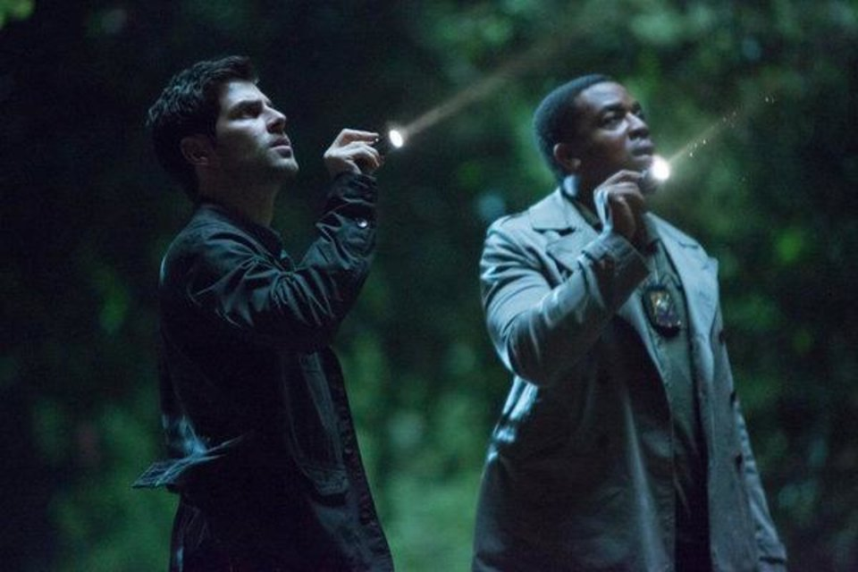 """Photo -  GRIMM -- """"A Dish Best Served Cold"""" Episode 303 -- Pictured: (l-r) David Giuntoli as Nick Burkhardt, Russell Hornsby as Hank Griffin -- (Photo by: Scott Green/NBC)"""