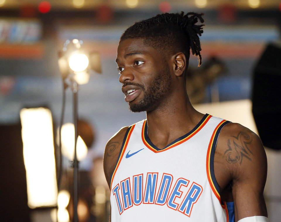 Photo - Nerlens Noel gives an interview during media day for the Oklahoma City Thunder at Chesapeake Energy Arena in Oklahoma City, Monday, Sept. 24, 2018. Photo by Nate Billings, The Oklahoman