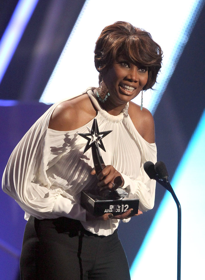 Photo -   Yolanda Adams accepts the award for best gospel at the BET Awards on Sunday, July 1, 2012, in Los Angeles. (Photo by Matt Sayles/Invision/AP)