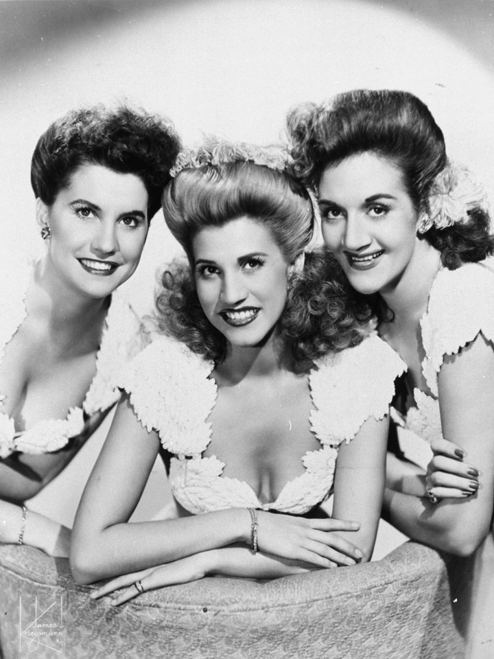 Photo - FILE - This 1947 publicity photo shows the pop vocal trio, The Andrews Sisters, from left, Maxine Andrews, Patty Andrews, and LaVerne Andrews.  Patty Andrews, the last survivor of the three singing Andrews sisters, has died in Los Angeles at age 94. Andrews died Wednesday, Jan. 30, 2013, at her home in suburban Northridge of natural causes, said family spokesman Alan Eichler.  (AP Photo, File)