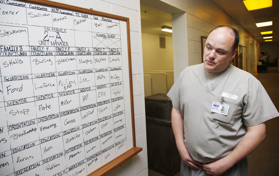 Photo -  Inmate Christopher Sullivan, a coordinator on Unit 2, talks about the structure at the Bill Johnson Correctional Center. [Photo by Nate Billings, The Oklahoman]
